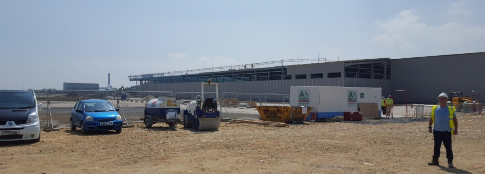 Progress on the construction of the Able development for the new BMW pre-inspection unit commences with Clugstons